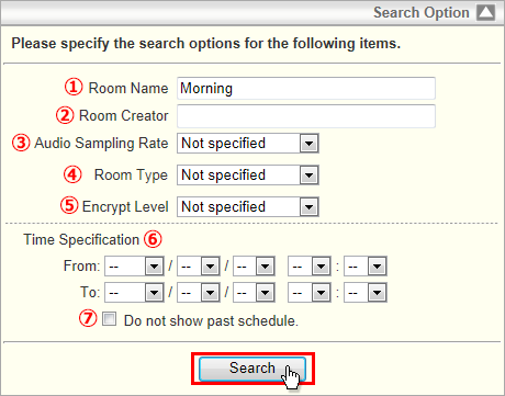 room list optional feature online help schedule search scheduled